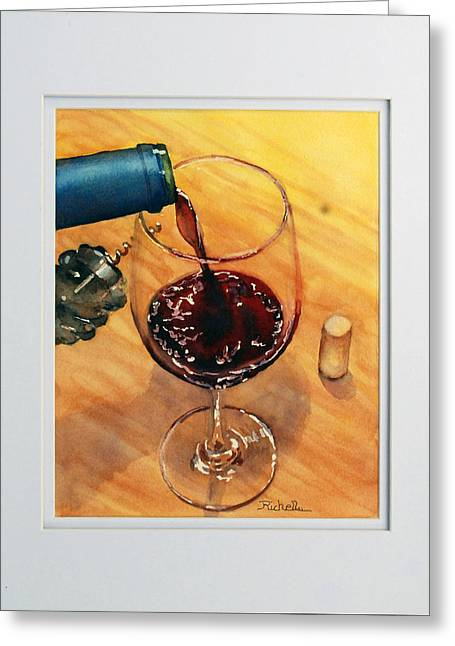 Table Wine Greeting Cards - Wine Anticipation Greeting Card by Richelle Siska