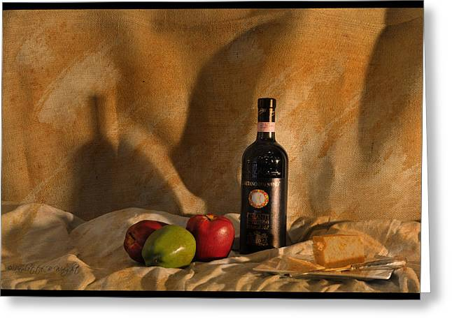 Chianti Digital Art Greeting Cards - Wine Apples and Cheese Greeting Card by Paulette B Wright