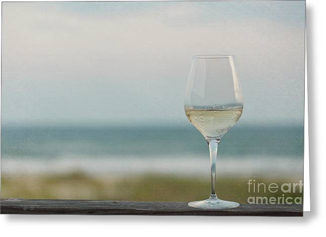 Green Ocean Glass Greeting Cards - Wine at the Beach Greeting Card by Kay Pickens