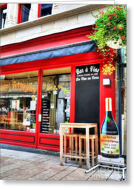 Wine Scene Photographs Greeting Cards - Wine Bar In Beaune Greeting Card by Mel Steinhauer