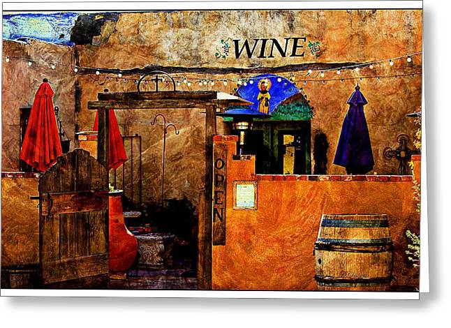 Southwest Gate Print Greeting Cards - Wine Bar of the Southwest Greeting Card by Barbara Chichester