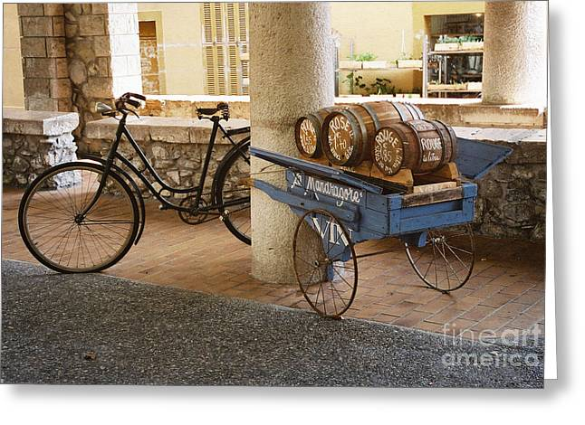 Wine Barrel And Bike Greeting Card by Holly C. Freeman