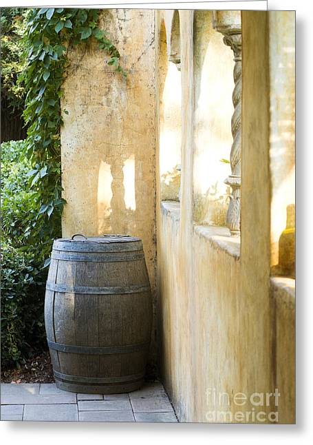 Red Wine Bottle Greeting Cards - Wine Barrel at the Vineyard Greeting Card by Jon Neidert
