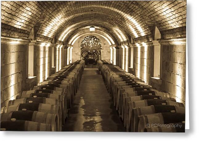 Hall Vineyards Greeting Cards - Wine Barrel Barrage Greeting Card by Preston Fiorletta