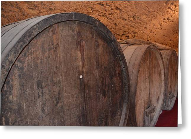 Basement Greeting Cards - Wine Barrel Greeting Card by Dany  Lison