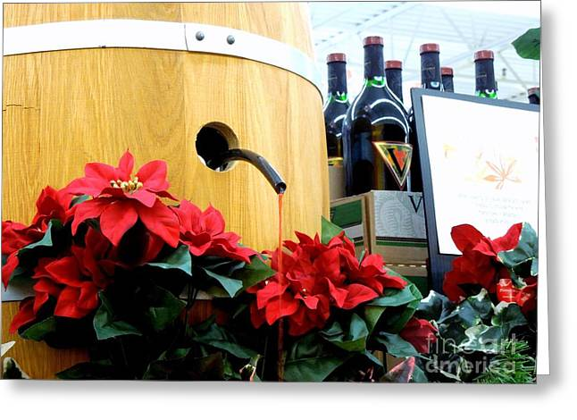 Pouring Wine Greeting Cards - Wine Barrel Display Greeting Card by Renee Trenholm