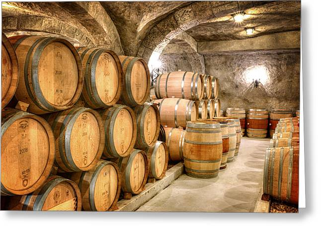 Basement Greeting Cards - Wine Barrells in the Cellar Greeting Card by Vicki Jauron