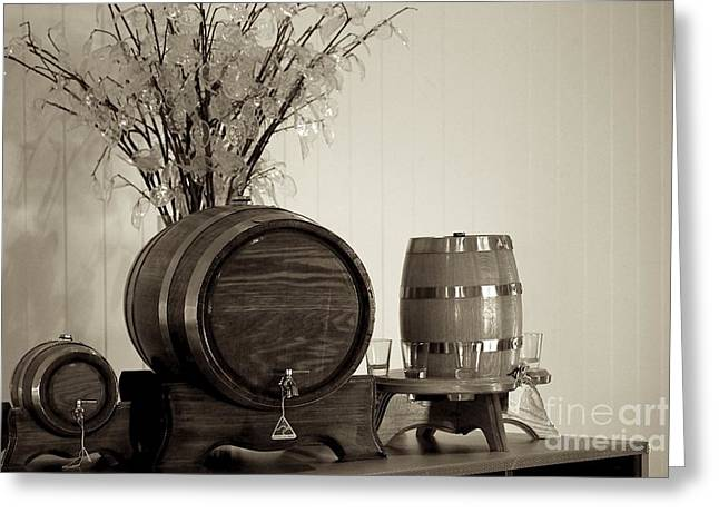 Wine Service Photographs Greeting Cards - Wine Barrels Greeting Card by Alanna DPhoto