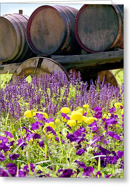 Wine Country. Greeting Cards - Wine Barrels at V. Sattui Napa Valley Greeting Card by Michelle Wiarda