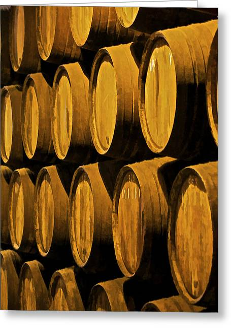 Winery Photography Greeting Cards - Wine Barrels Greeting Card by David Letts