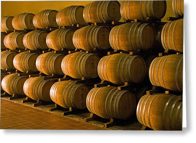 Winelands Greeting Cards - Wine barrels Greeting Card by Dennis Cox WorldViews
