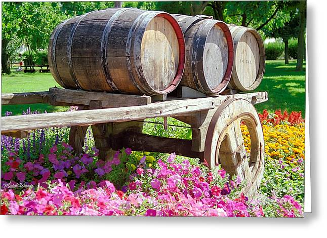 Wine Cart Greeting Cards - Wine Barrels in Spring at V Sattui Winery Greeting Card by Michelle Wiarda
