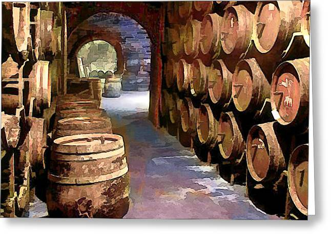 Sparkling Wines Digital Greeting Cards - Wine Barrels in the Wine Cellar Greeting Card by Elaine Plesser