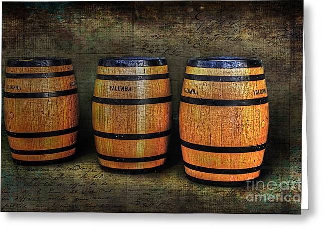 Cooperage Greeting Cards - Wine Barrels Greeting Card by Kaye Menner