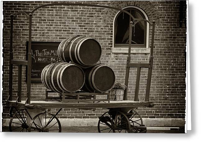 Wine Cart Greeting Cards - Wine Barrels on RR Cart Hermann MO DSC09285 Greeting Card by Greg Kluempers
