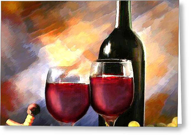 Wine Before and After Greeting Card by Elaine Plesser