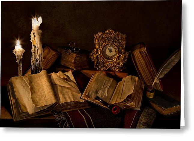 Candle Lit Greeting Cards - Wine Bottle Candles Books and Pipe Greeting Card by Mary Tomaino
