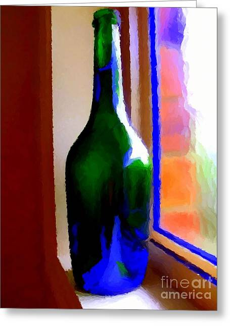 Wine Bottle Greeting Card by Chris Butler
