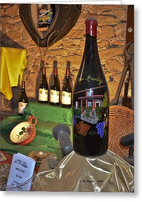 Wine Bottle On Display Greeting Card by Allen Sheffield