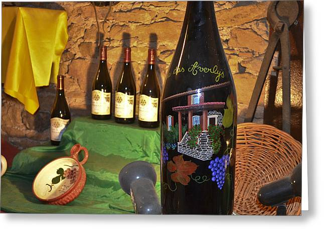 Wine Bottle on Display Greeting Card by Allen Sheffield