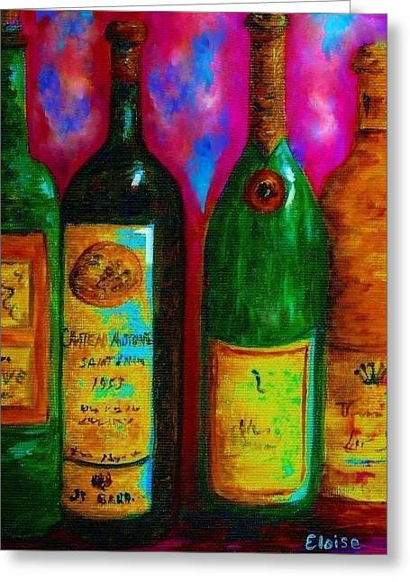 French Wine Bottles Mixed Media Greeting Cards - Wine Bottle Quartet on a Blue Patched Wall Greeting Card by Eloise Schneider