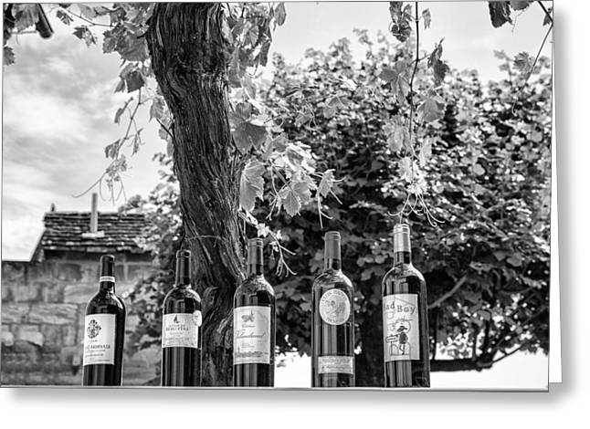 Cellar Greeting Cards - Wine Bottle Row in Mono Greeting Card by Nomad Art And  Design