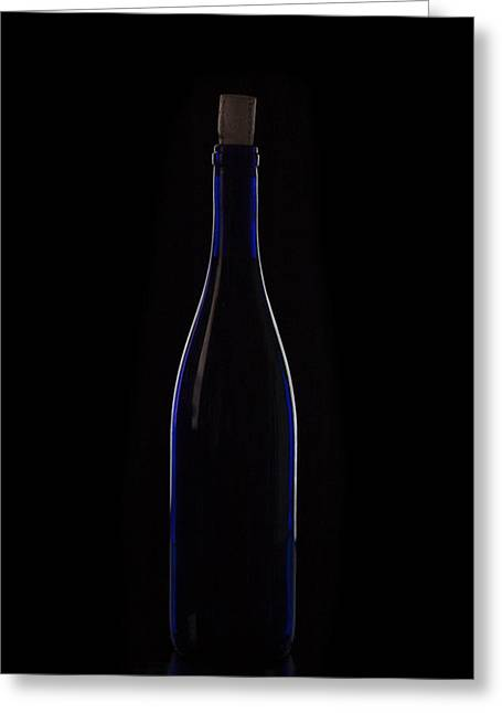 Bar Accessory Greeting Cards - Wine Bottle Silhouette  Greeting Card by Eugene Campbell