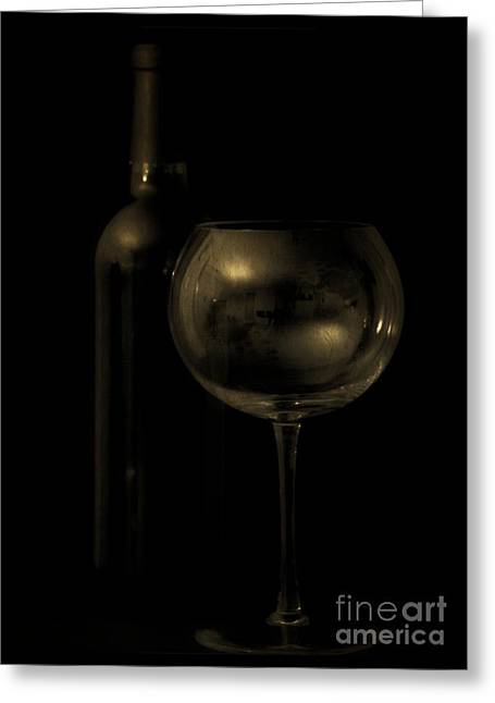 Syrah Greeting Cards - Wine Bottle Still Life Deep Red Greeting Card by Edward Fielding