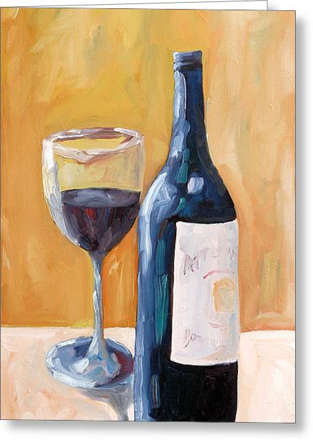 Red Wine Prints Greeting Cards - Wine Bottle Still Life Greeting Card by Todd Bandy