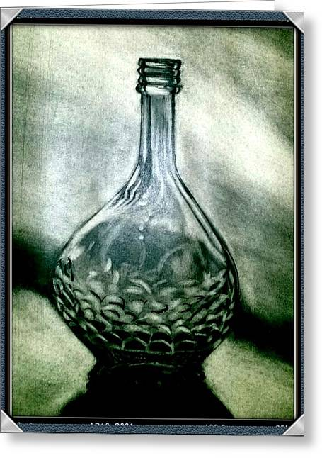 Fine Bottle Drawings Greeting Cards - Wine Bottle Stilllife Greeting Card by Melvin Vierra