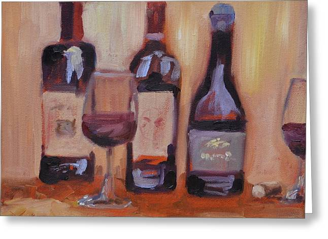 Virginia Wine Art Greeting Cards - Wine Bottle Trio Greeting Card by Donna Tuten