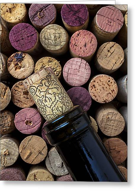 Stopper Photographs Greeting Cards - Wine bottle with corks Greeting Card by Garry Gay