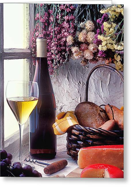 Wine-bottle Greeting Cards - Wine bottle with glass in window Greeting Card by Garry Gay