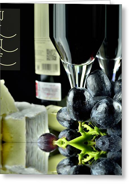 Winemaking Greeting Cards - Wine bottle with glass Greeting Card by Toppart Sweden