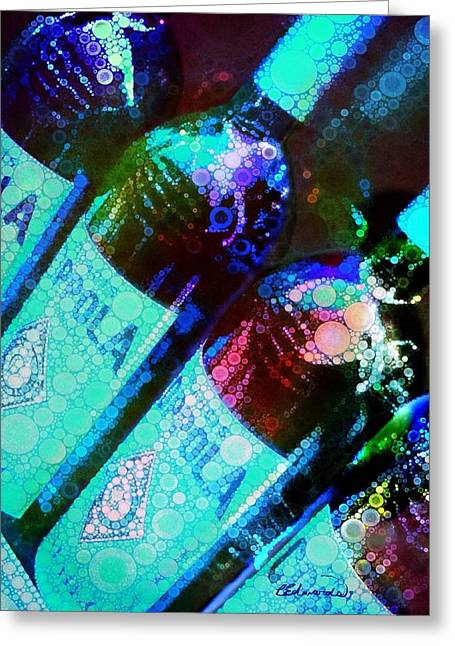 Bubbly Digital Greeting Cards - Wine Bottles Greeting Card by Cindy Edwards
