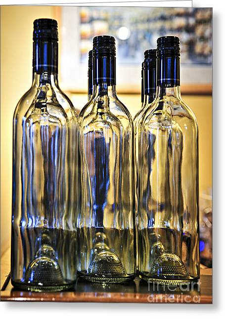 Winemaking Photographs Greeting Cards - Wine bottles Greeting Card by Elena Elisseeva