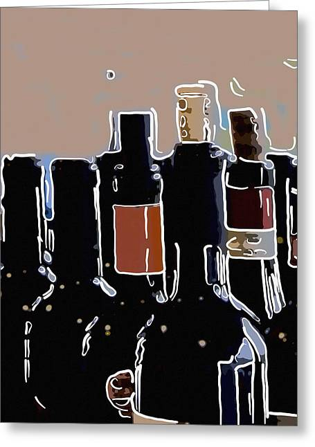 Fizz Greeting Cards - Wine bottles in a row  Greeting Card by Toppart Sweden
