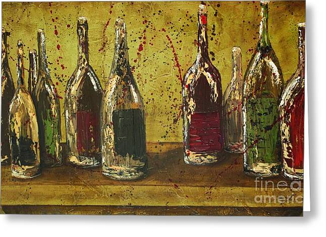 Win Bottles Greeting Cards - Wine Bottles Greeting Card by Jodi Monahan