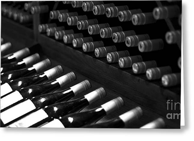 Wine Rack Greeting Cards - Wine Bottles on a Rack at a Winery near the Vineyards Greeting Card by ELITE IMAGE photography By Chad McDermott