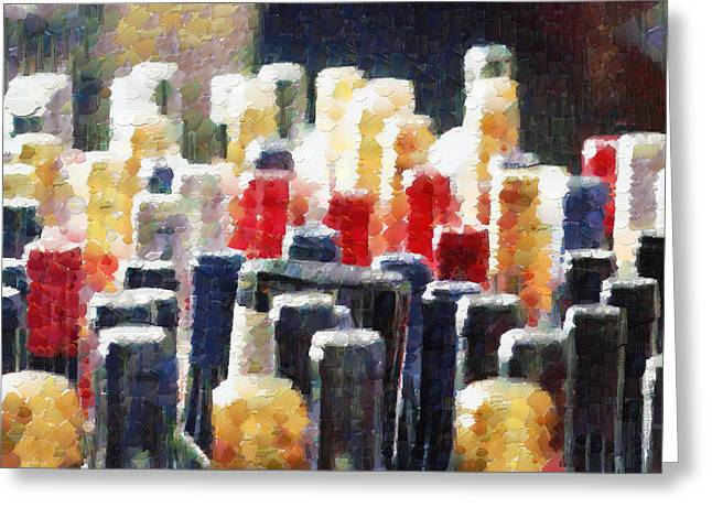 Wine bottles painting Greeting Card by Magomed Magomedagaev