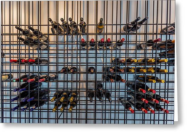 Wine Photography Greeting Cards - Wine Bottles, Reykjavik, Iceland Greeting Card by Panoramic Images