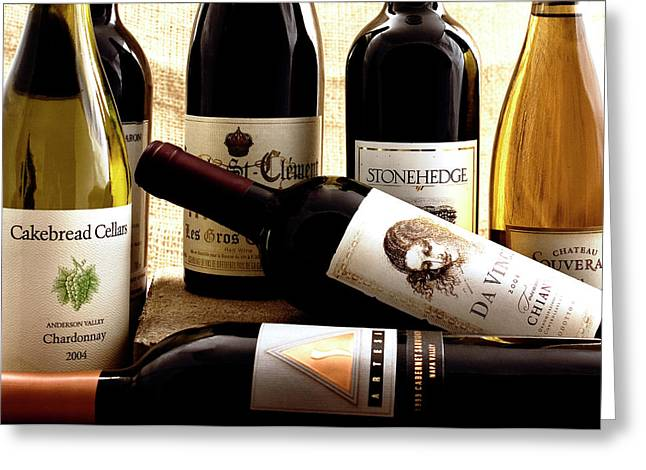 Cakebread Greeting Cards - Wine Bottles Greeting Card by Susan Stone