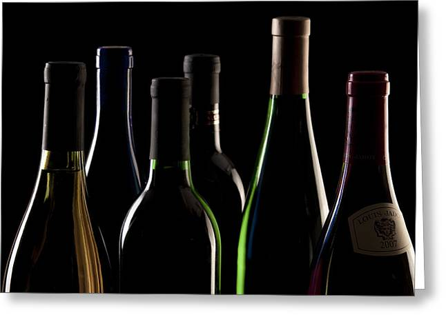Vino Photographs Greeting Cards - Wine Bottles Greeting Card by Tom Mc Nemar