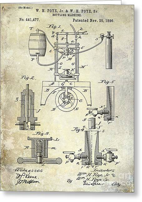 Wine Cork Greeting Cards - 1890 Wine bottling Machine Greeting Card by Jon Neidert