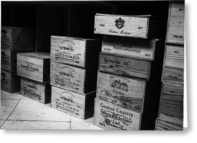 Box Wine Greeting Cards - Wine Boxes black and white Greeting Card by Nomad Art And  Design