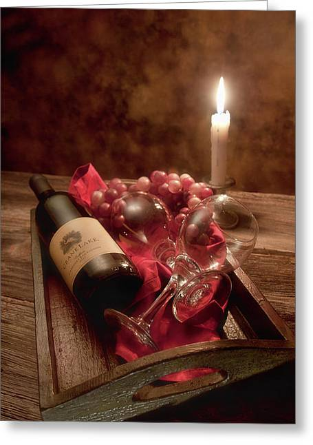 Candlelight Greeting Cards - Wine by Candle Light I Greeting Card by Tom Mc Nemar