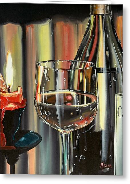 Anthony Mezza Paintings Greeting Cards - Wine by Candlelight Greeting Card by Anthony Mezza