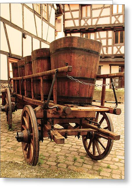 Wine Scene Greeting Cards - Wine Cart in Alsace France Greeting Card by Greg Matchick