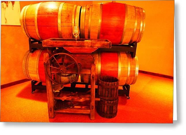 Old Relics Greeting Cards - Wine casks and a grape crusher Greeting Card by Jeff  Swan