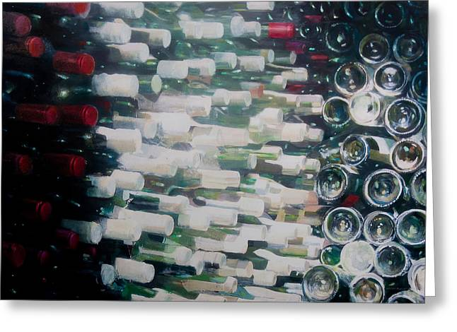 Wine Cellar Photographs Greeting Cards - Wine Cellar, 2012 Acrylic On Canvas Greeting Card by Lincoln Seligman